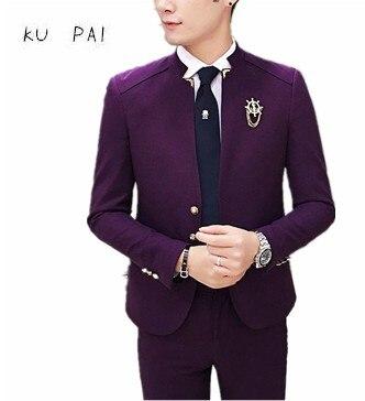 2017 новая Корейская версия прилива мужской случайный стенд воротник маленький Блейзер Британский Китайский ветер костюм мода Мужская одежд...