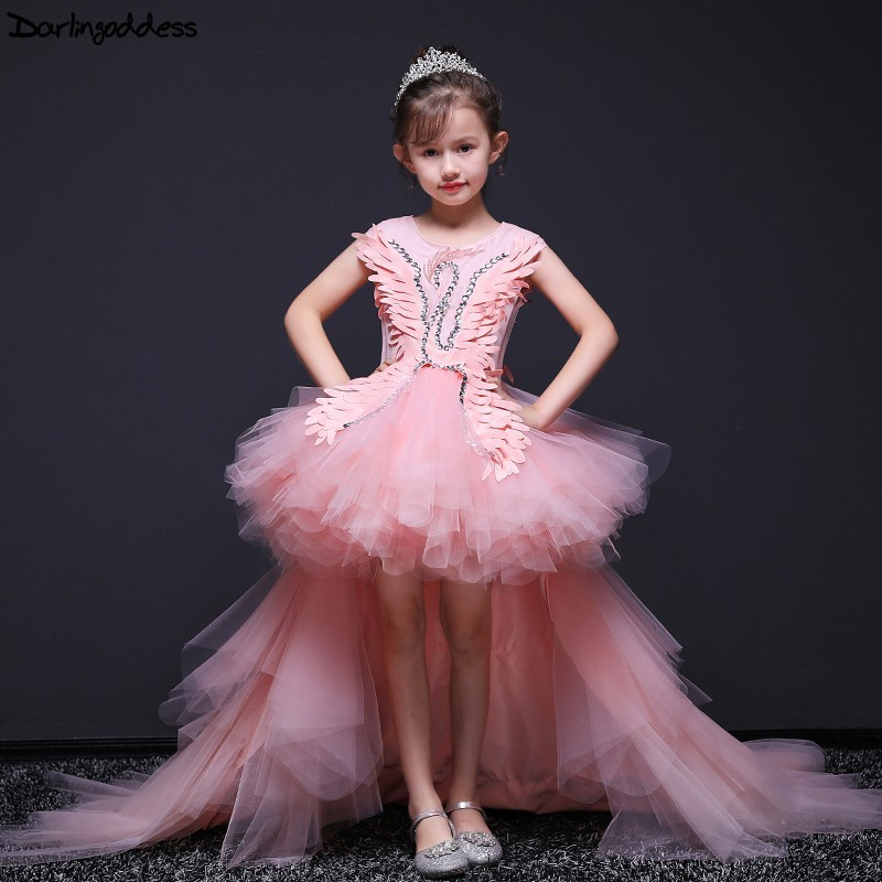 Pink   Flower     Girl     Dresses   for Weddings Swan Kids Pageant   Dress   Birthday Show Costume Ball Gown   Girls   Evening Prom   Dress   2019