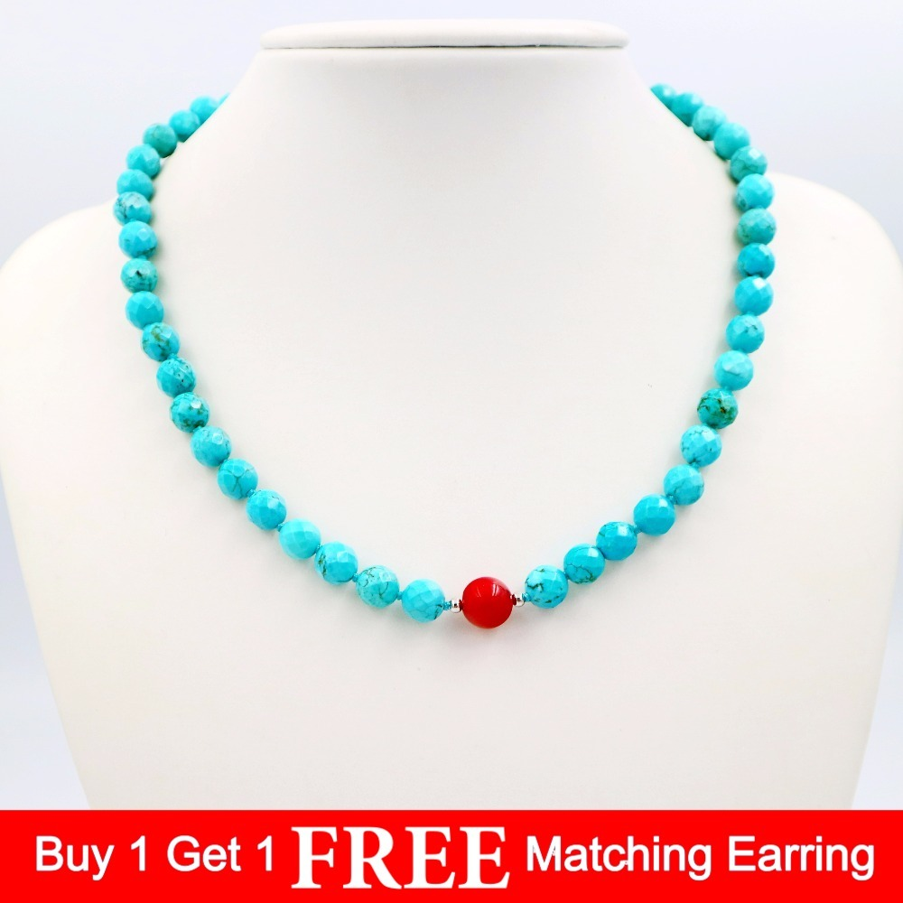 """3 rows 10MM Yellow Turquoise Necklace 18/""""  cameo clasp"""