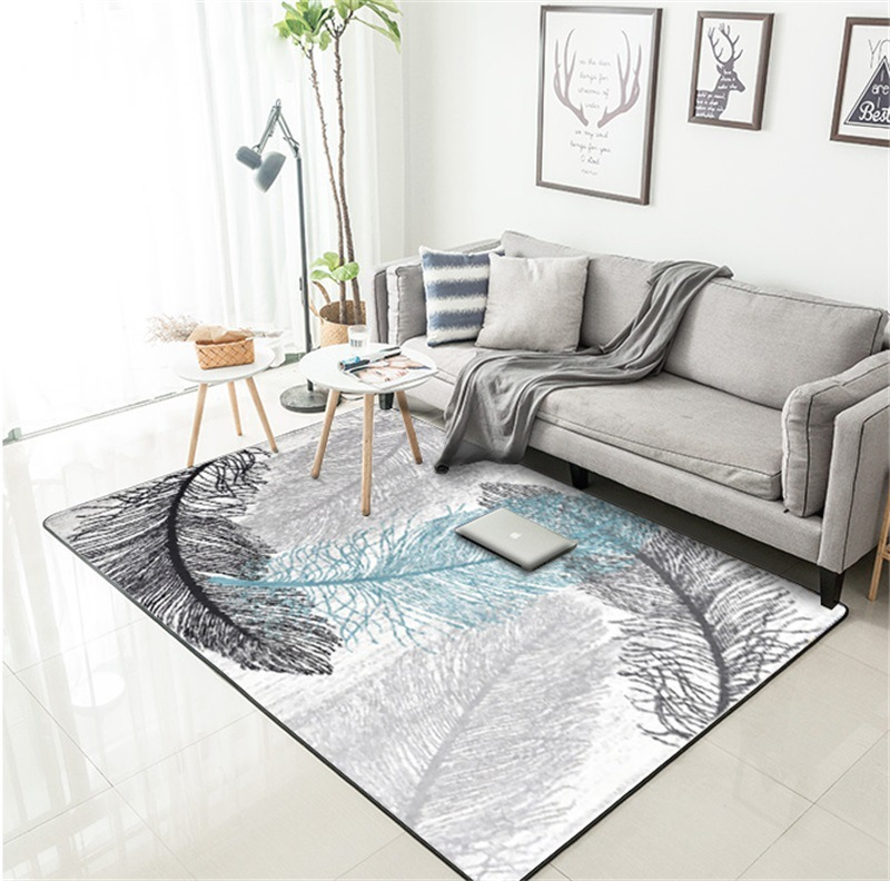 DeMissir Aestheticism Ash Blue White Feather Printed Carpets Rug For Kids Bedroom Living Room Floor Door Mat Alfombra Dormitorio