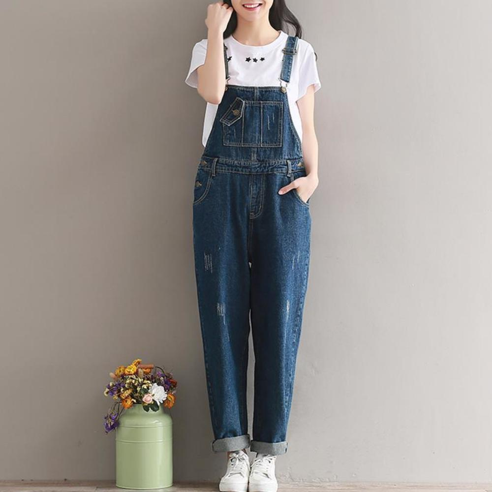 Spring Autumn Women Ripped Jeans Jumpsuit Casual Vintage Loose Washed Suspenders Denim Overalls Clothing