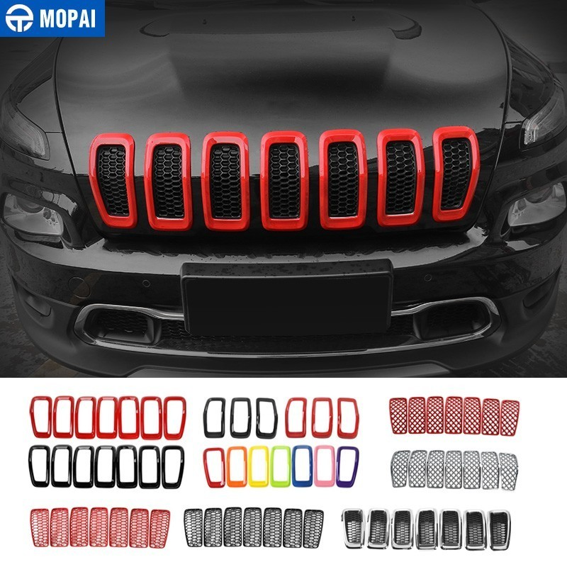 MOPAI Car Sticker for Jeep Cherokee 2014+ ABS Car Front Grilles Decoration Cover Stickers for Jeep Cherokee 2018 Car Accessories-in Car Stickers from Automobiles & Motorcycles