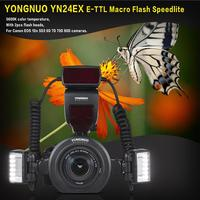 YONGNUO YN24EX E TTL Macro Flash Speedlite 5600K Flash Heads Adapter Rings for Canon EOS 1Dx 5D3 6D 7D 70D 80D Cameras