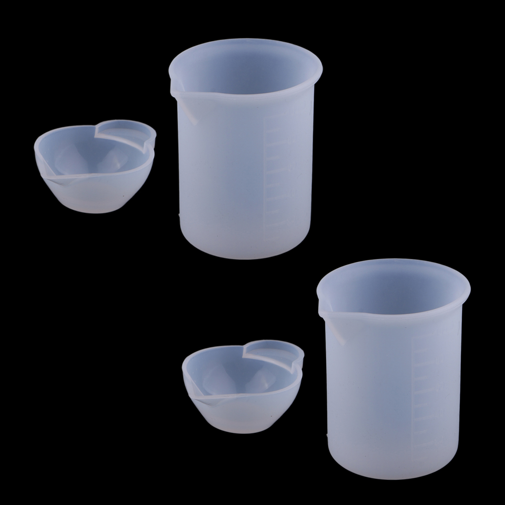 4 Pcs Silicone Epoxy Resin Mixing Cups & 100ml Measuring Cup DIY Resin Glue Tools For Jewelry Making Handmade Craft Accessories