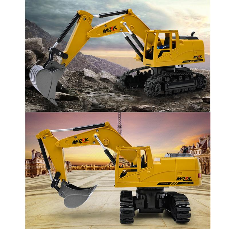 In Design; Obedient Wireless Remote Control Engineering 5ch 4 Shovelloader Rc Wheel Excavator Rc Excavator And Light Electronic Toy Model For Kids Novel