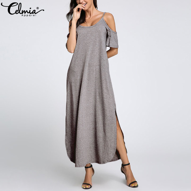 Celmia Plus Size Women Maxi Long Dress 2020 Summer Bohemian Sexy Off Shoulder Casual Loose Shirt Vestidos Split Beach Sundress