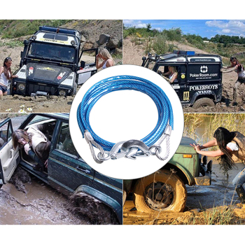 5 Tons 4M Car Towing Rope Auto Boat Truck Towing Strap Rope Hook Car Heavy Emergency Steel Ropes