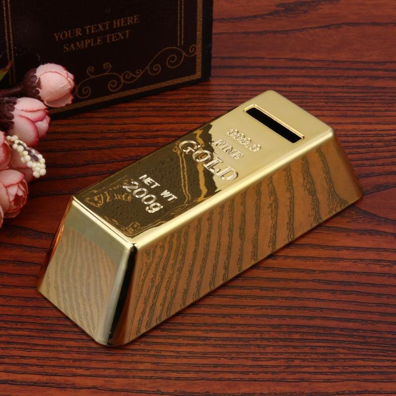 ABS Plastic Piggy Bank Gold Bullion Brick Coin Box Case Saving Money Box For Kids Children Birthday Gifts Home Decor