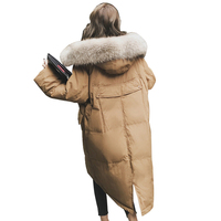 Women Winter Parka With Fur Hood Feminino Warm Thick Coat Real Fox Fur Collar Puffer Jacket Mujer Casual Khaki Outerwear PJ259
