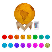 16 Color RGB Earth Lamp Night Light 3D Rechargeable USB Printed LED Moon Lamp Dimmable Touch Bedside Table Light Home Decor