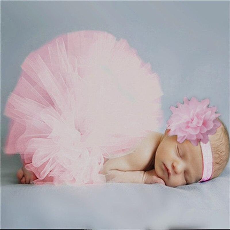 2 Pcs Neugeborenen Baby Stirnband Blume + Tutu Rock Mädchen Foto Prop Outfits 2019 Neue Heißer Verkauf Baumwolle Niedlich Mode GläNzende OberfläChe