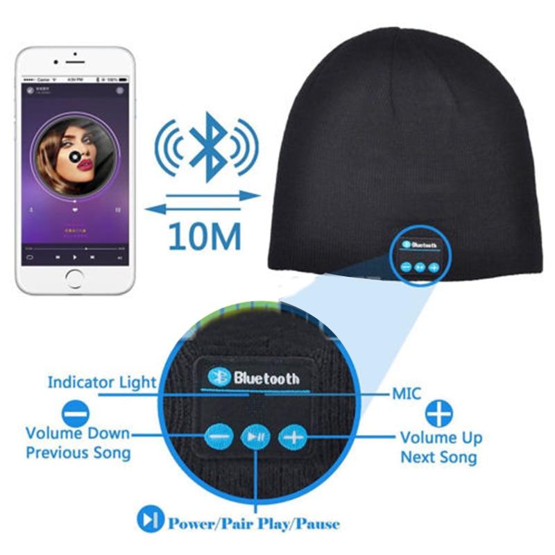 Soft Warm Beanie Hat Earphone Wireless Bluetooth Smart Cap Headset Headphone Speaker Mic Bluetooth Hats Hot Sale in Bluetooth Earphones Headphones from Consumer Electronics