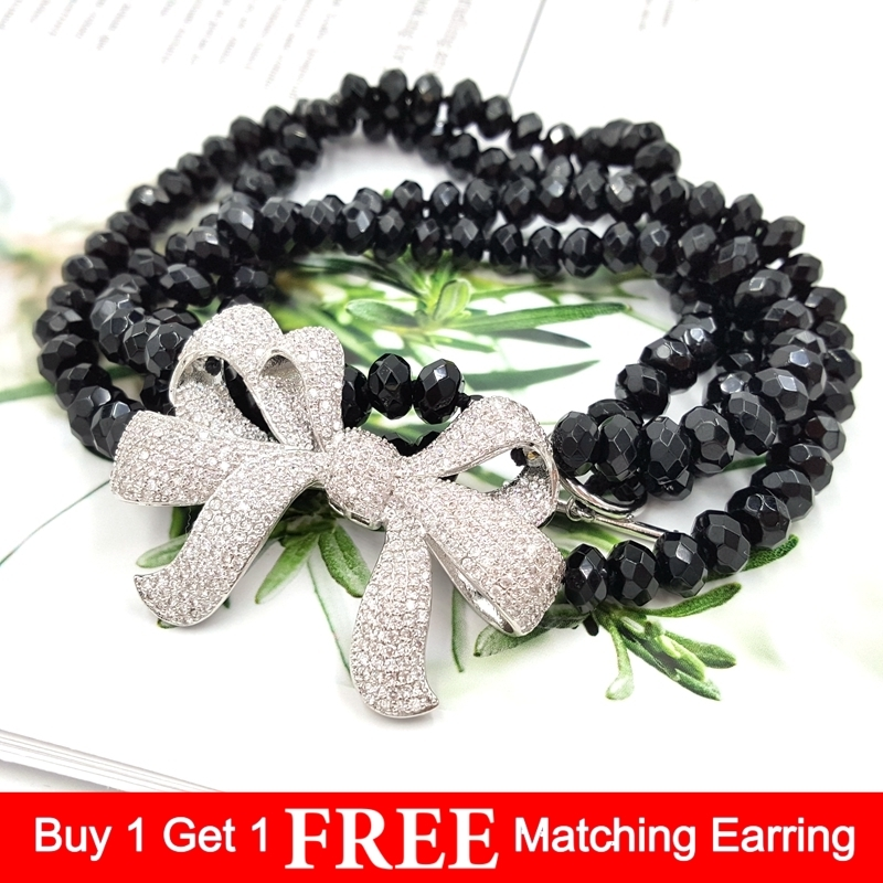LiiJi Unique Natural Onyx 5x8mm Faceted Beads double strands Cubic Zirconia Bowknot 925 Sterling silver Clasp
