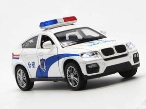 Image 4 - 1/32 Hoge Simulatie BM W X6 Metal Diecast Voertuig Legering Speelgoed Politie Auto Geluid En Licht Trek Model Speelgoed Voor Kinderen S