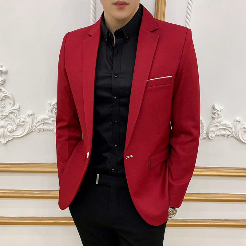 Solid Man's Blazer Male Spring Business Office Mens Jacket Blazer Masculino Man Blazer Hombre Korean Slim Fit Sleeve Small Suit