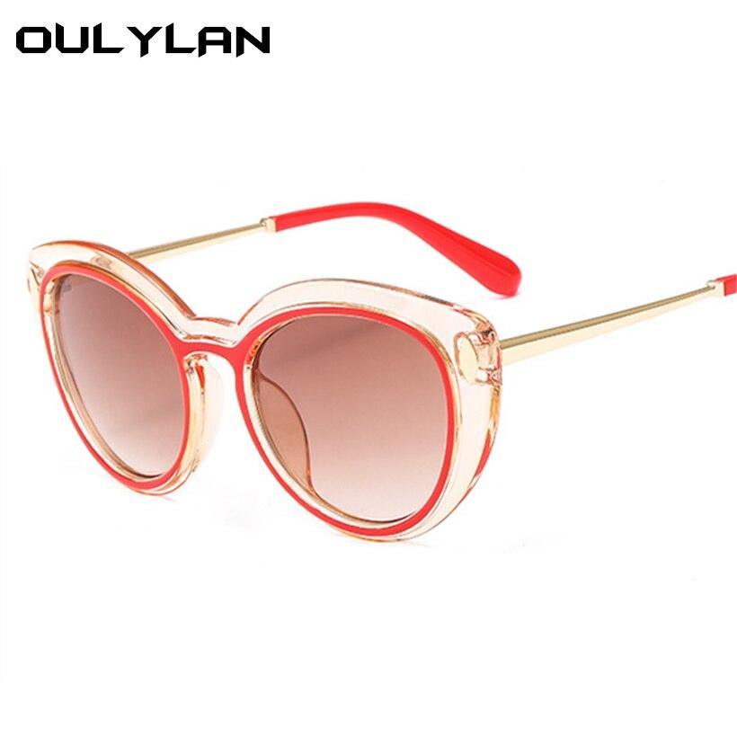 48f65d4f00 Oulylan Oval Sunglasses Women Trendy Brand Desinger Vintage Cat Eye Sun  Glasses Ladies Mirror Sunglass HD