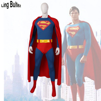 Ling Bultez High Quality 3D Logo Superman Cosplay Costume With Belt 1978 Superman Outfit Old 1978 Superman Costume With Cape
