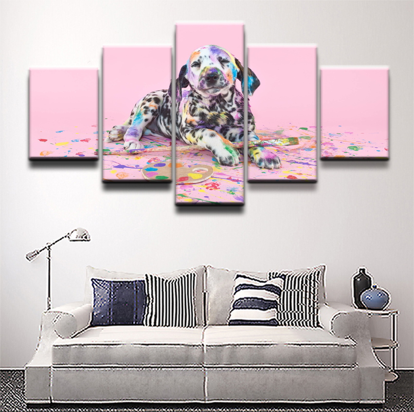 5 Piece Print Poster Paint Dalmatian Pet Puppy Decor Painting Wall Art Pictures Modern Home Decor For Bedroom Canvas Artwork in Painting Calligraphy from Home Garden