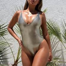 fd8a6f54f958f Misswim Shiny sexy one piece swimsuit female monokini High cut bikini 2019 Silver  push up swimwear women bathers New bodysuit