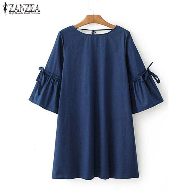 bb10fcfa58a 2019 Plus Size ZANZEA Summer Denim Blue Blouse Women Short Ruffleed Sleeve  Loose Shirts Casual Bow Tie Party Long Tops Vestido