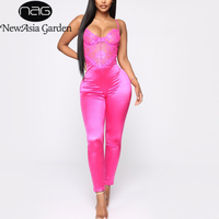 NewAsia Stretch Satin Jumpsuit Summer Spaghetti Straps Lace Bustier Top Bodycon Overalls For Women Hollow Out Sexy Jumpsuits New