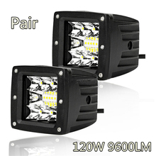 цена на 1 Pair SUV Pickup 3 Super Bright White LED Work Light Driving Lamp 6500K120W IP68