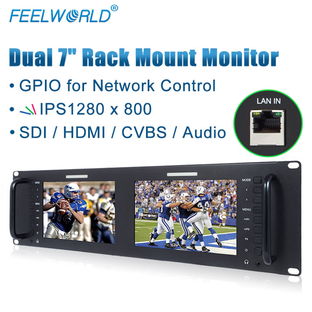 Feelworld D71 Dual 7 inch 3RU Rack Mount Monitor IPS 1280x800 Broadcast LCD Display with 3G SDI HDMI AV Input Output LAN Port