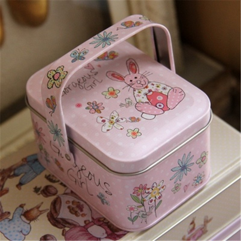 2016New Hand-painted illustrations Peter Rabbit Tote Tin Box Jewelry Box Storage Case Iron Box Candy Container Gift Box