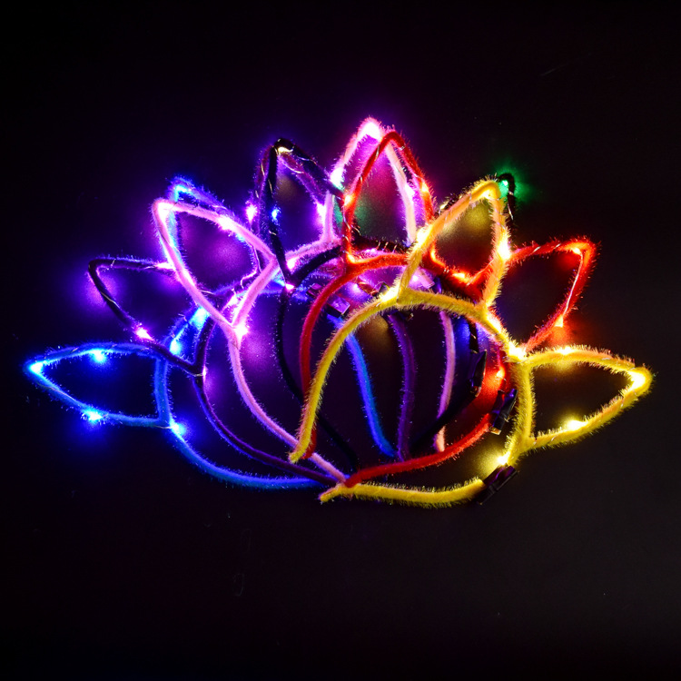 2pcs/set New Glow Rabbit Ear Hair Hoop Bunny Glow Headband Toys For Children Christmas Gift At Random