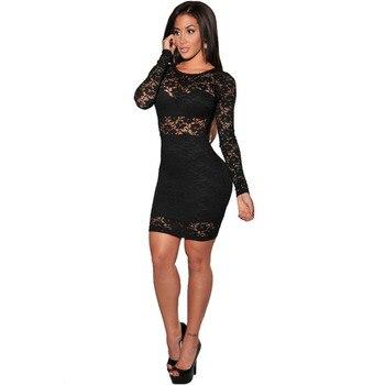 4abb2b87d Vestido de encaje negro de MUXU para mujer vestidos de calle ceñidos  kleider sukienka ropa vestido sexy transparente de manga larga