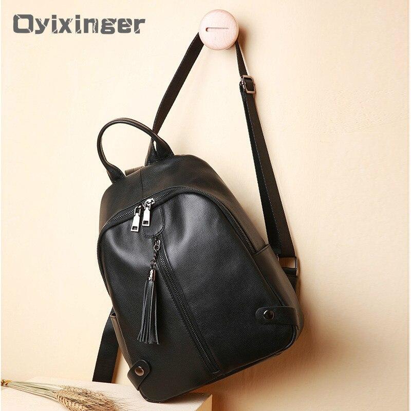 Mode femmes sacs à dos en cuir véritable femmes sacs à dos voyage sac à dos pour les adolescentes Rivet sacs d'école en cuir pour les femmes