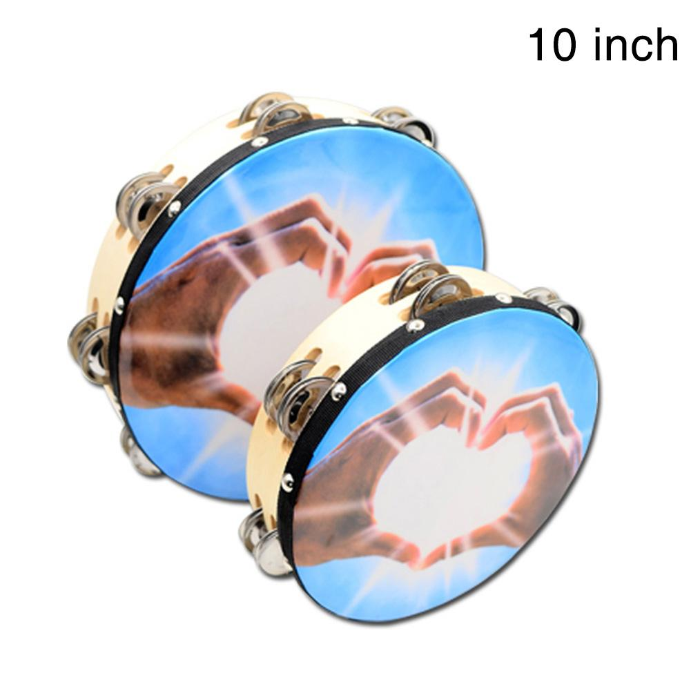 Hearty Wooden Handheld Double-row Tambourine Frame Drum For Church Party Dance Prop Adults Kids Percussion Orff Musical Instrument