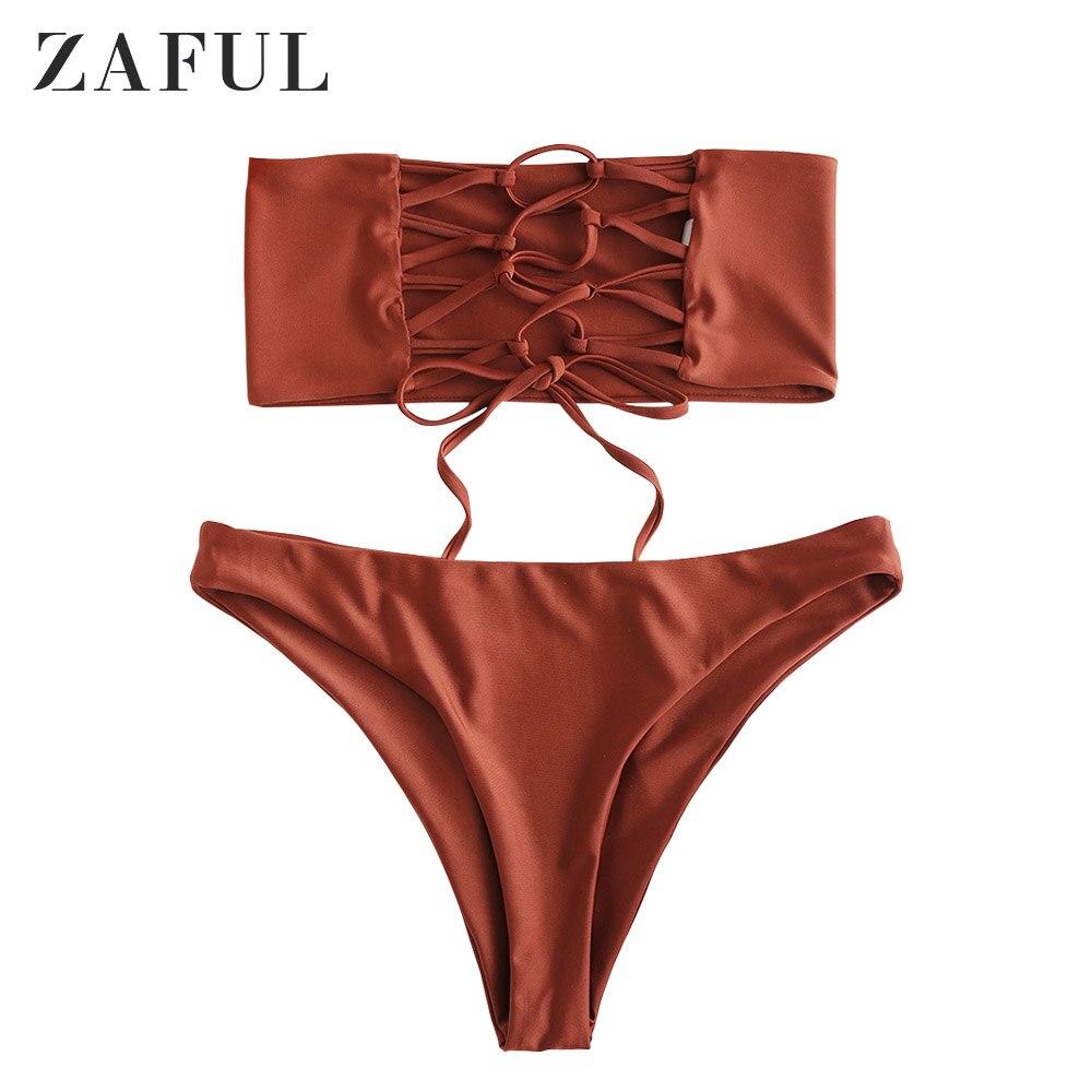 d7f9538ca152 US $17.49 50% OFF|ZAFUL New Lace Up Smocked Bandeau Bikini Set Strapless  Bikini 2019 Shirred Bikinis 2019 Mujer Swimwear Women Unlined Biquini-in ...