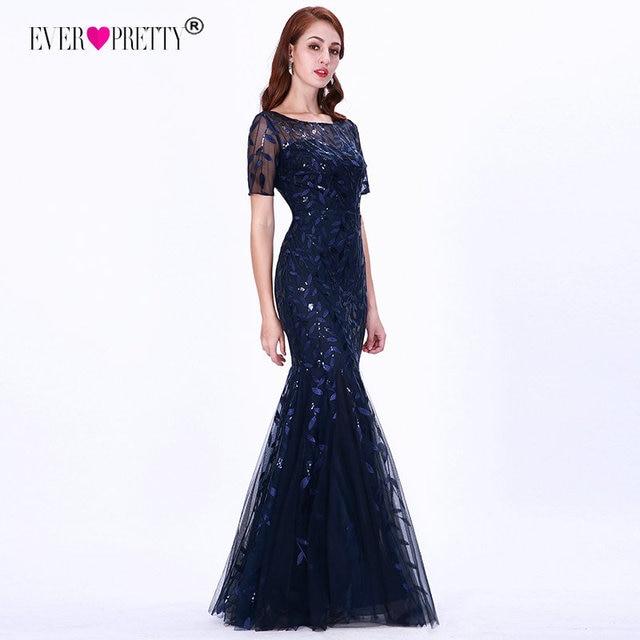 Plus Size Saudi Arabia Prom Dresses 2019 Ever Pretty EZ07707 Short Sleeve Lace Appliques Tulle Mermaid Long Dress Party Gowns 3