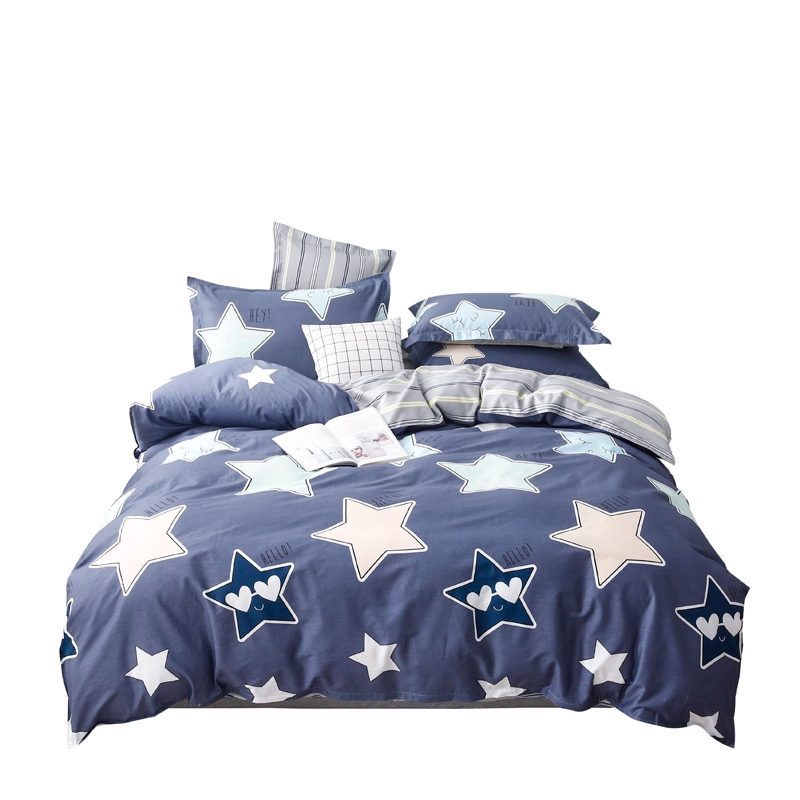 Blue and White Sweet Stars bedding set kids cactus cartoon style duvet cover for boys girl 100% cotton 4pcs bed linens bedspreadBlue and White Sweet Stars bedding set kids cactus cartoon style duvet cover for boys girl 100% cotton 4pcs bed linens bedspread