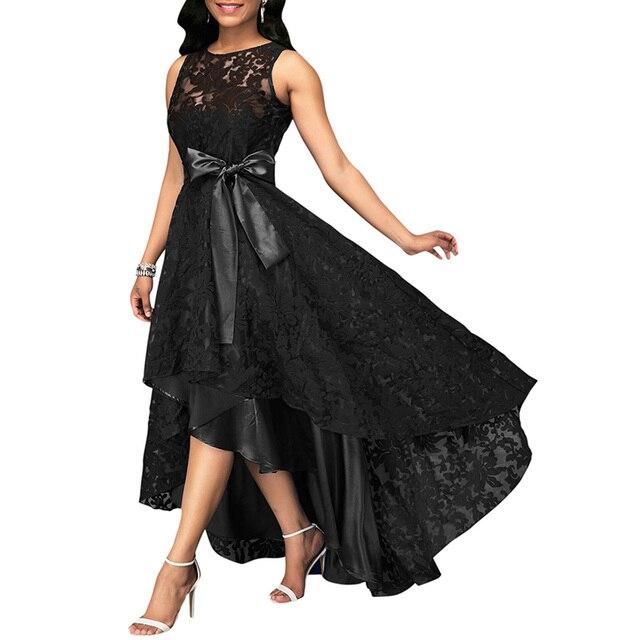 3898de24a73 ... Sexy Plus Size Party Dress New Women Lace Maxi Dress Sleeveless High  Low Belted Irregular Swing ...