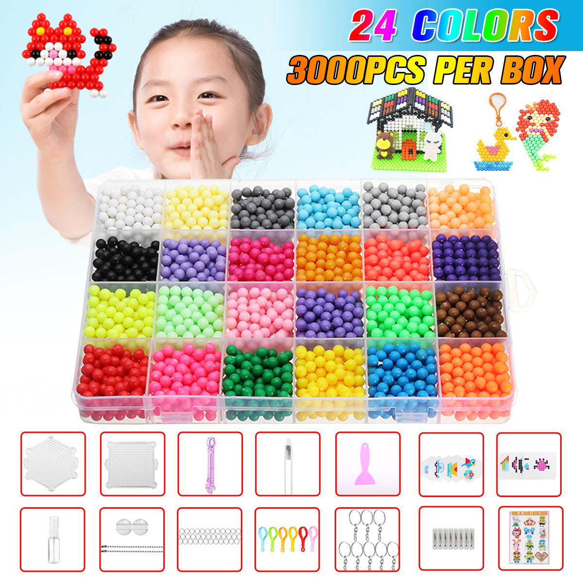 Mimi Play 24 Colors 3000pcs Water Spray Magic Beads DIY Kit Ball Puzzle Game Fun DIY handmaking 3D puzzle Educational Toys