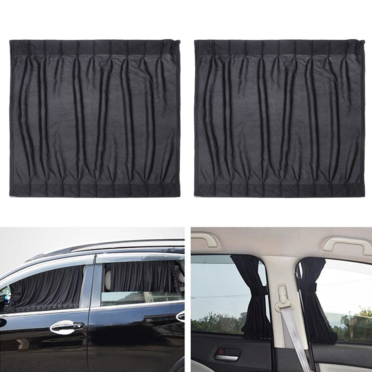 2pcs Car Side Window UV Protection Curtain Sun Shade Vehicle Slidable Retractable Window Shield for Sedan SUV