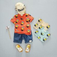 Summer Fashion Children Kid Cotton Clothes Infant Smiley Face Shirt Denim Shorts 2pcs/Set Child Toddler Clothing Baby Tracksuits