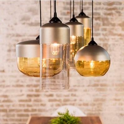 Nordic LOFT Amber/transparent Pendant Lights Glass Lampshade LED Pendant Lamps Dinning Room Home Lighting Kitchen Fixtures Avize