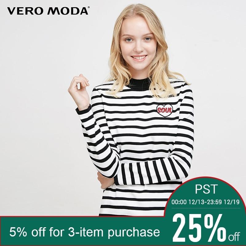 f5393dcc9e Comprar Vero moda Marca 2018 NOVA streetwear casual listras linha do  bordado manga longa pullover mulheres blusas de malha