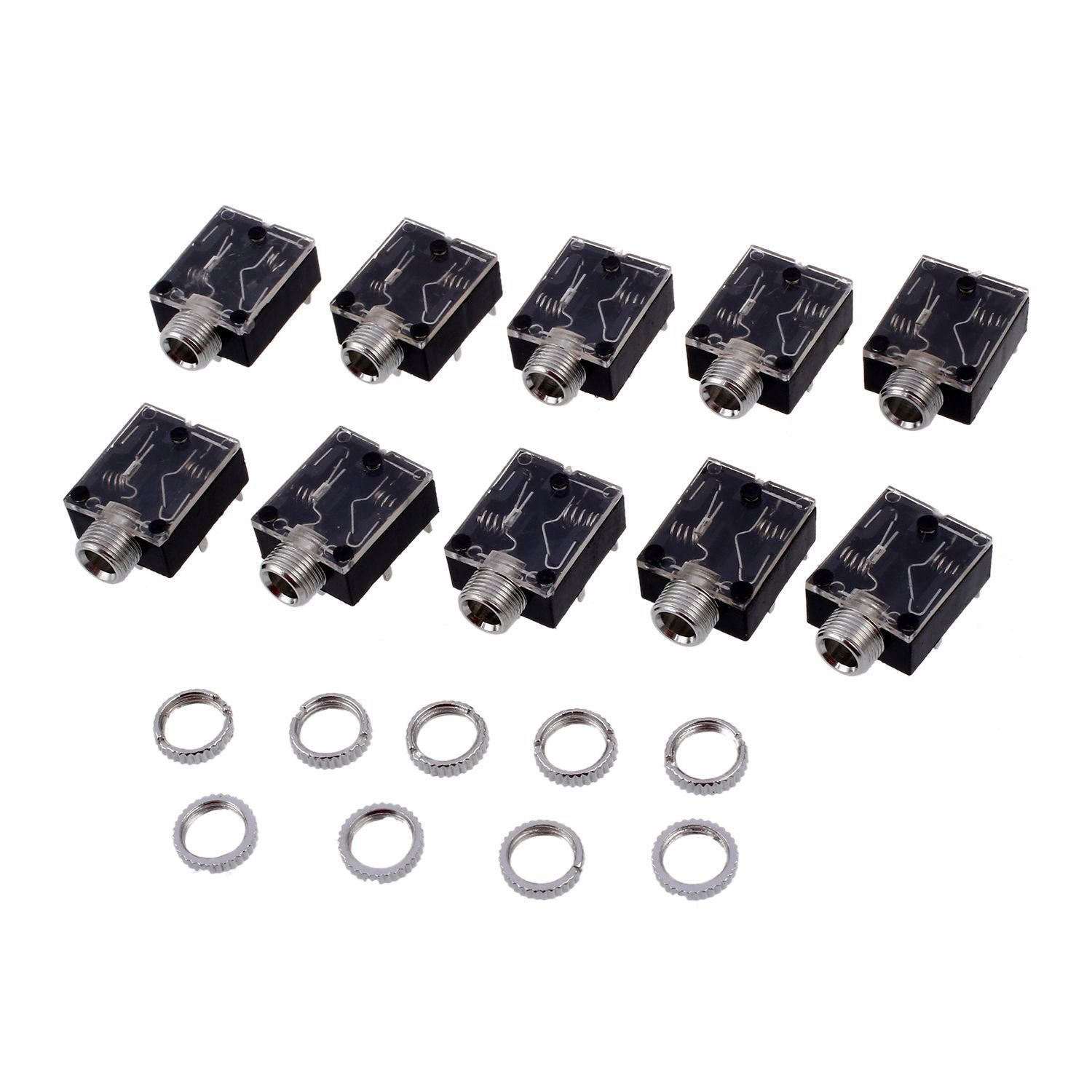 10Pcs 3.5mm Headphones Stereo Audio Socket Jack With nut 5