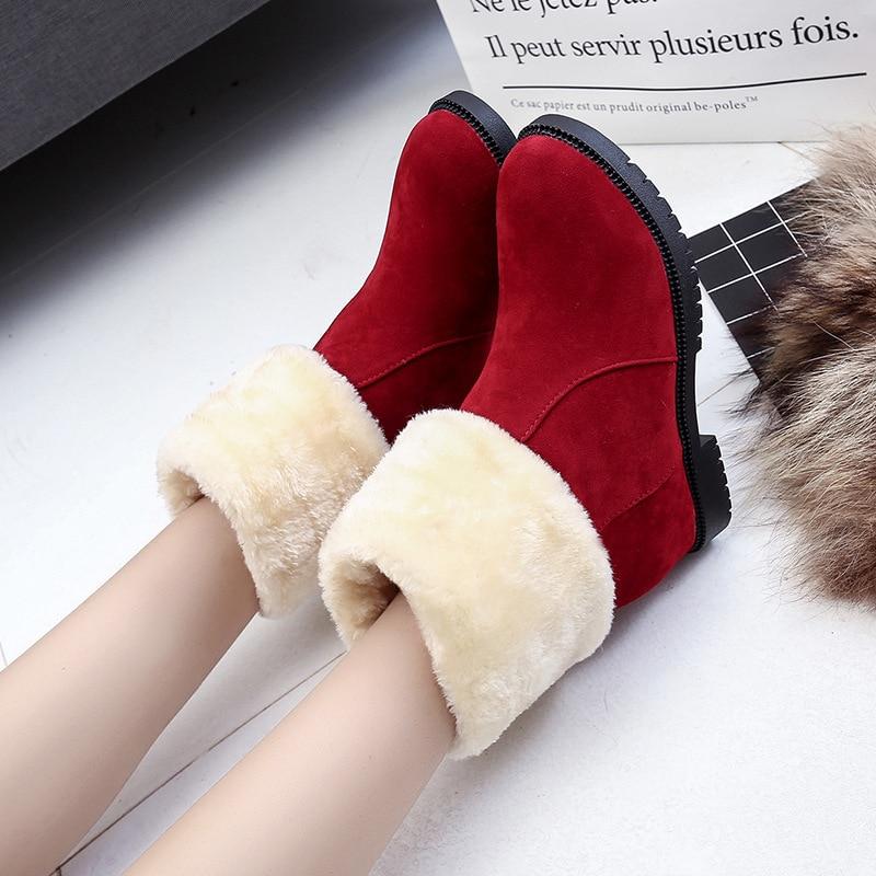 Caoutchouc L'automne Pour 2018 Bota Chaud Chaussures Mujer Top Cheville Style Coton Botas Hiver Vente Black Feminina brown Bottes En Femme Mode Dans red qP7P5