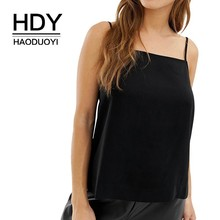 HDY Haoduoyi Femme Simple Pure Color Black Casual Tank Tops Neck Adjustable Solid Shoulder Strap New