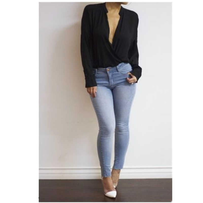 Fashion Wanita Longgar Lengan Panjang Blus Kasual Musim Panas Chiffon Tops