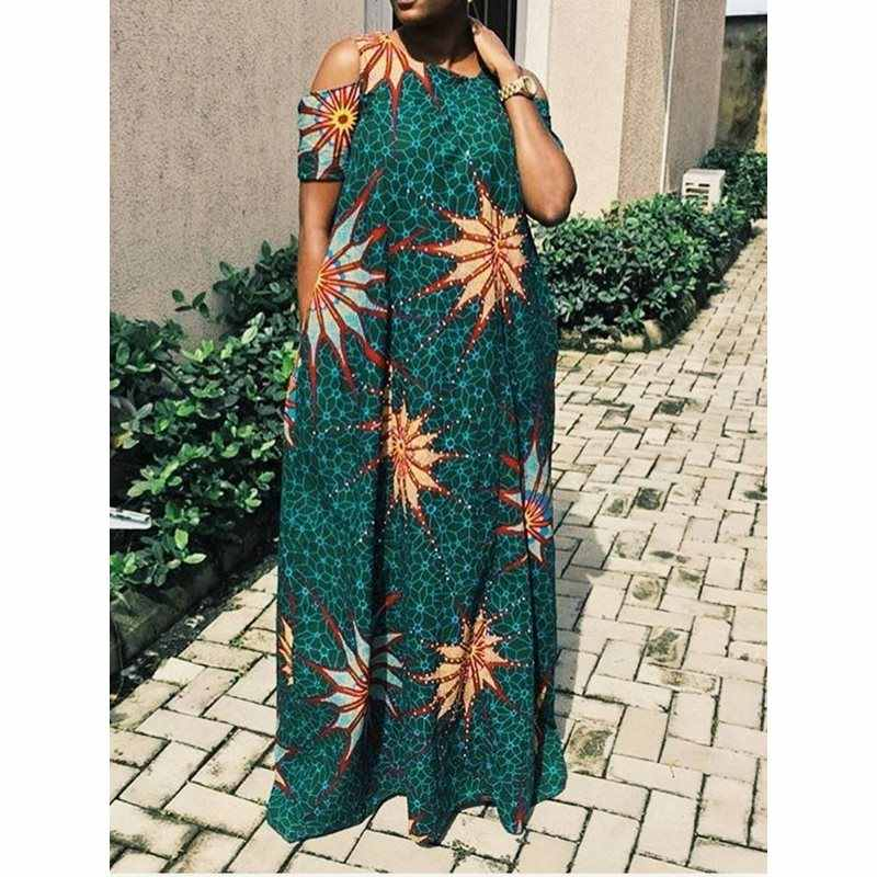 c4615d94c8 Casual Maxi Dress Women Summer Chic Floral Print Travel Holiday Loose Beach  Robe African Ladies Sexy