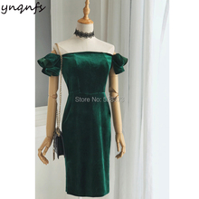 YNQNFS C1 Emerald Green Velvet Mother of the Bride Dresses Short Sleeve robe de cocktail courte