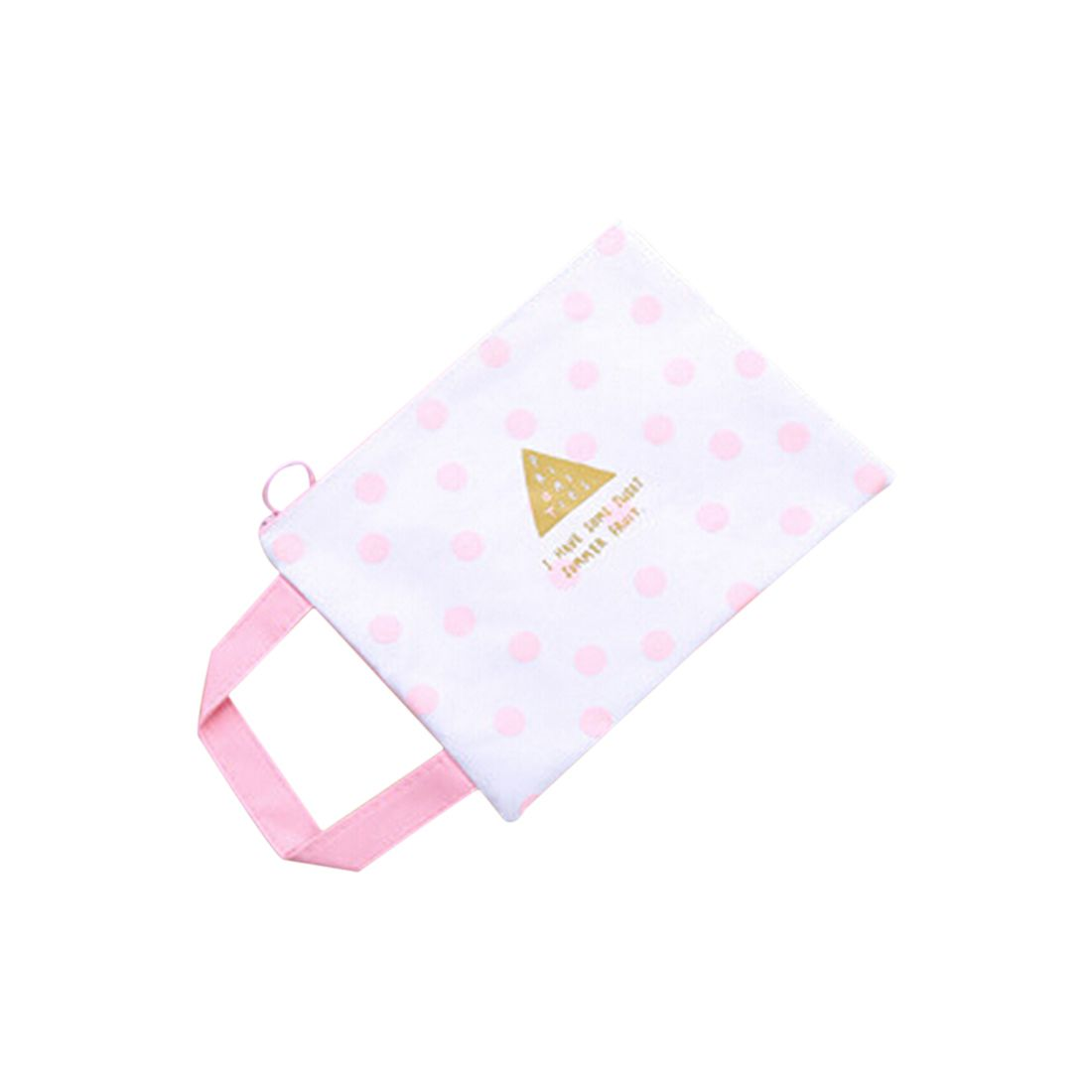 A4 Cartoon Pink Mesh File Folder Document Filing Bag Stationery Business Gift Stationery Dots