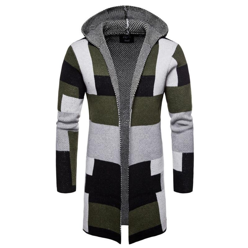 Couleur Gris Capuche Chandail Manteau Casual Hommes Cardigan Pour À Hiver Long Slim Tricoté vert Patchwork Épais 8021 n7qPZUw