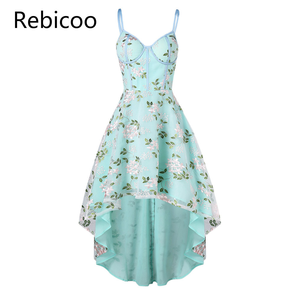 Vintage Lace Embroidered Sleeveless High Low Party Dress Sexy Spaghetti Strap Women Summer Dress Elegant Trumpet Dress